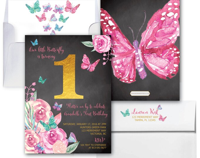 Butterfly First Birthday Invitation, Butterflies, 1st Birthday Invitation, Girls,  Butterfly, Floral, Watercolor // VICTORIA COLLECTION