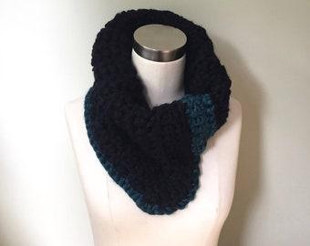 Cowl Neck Scarf / Crochet Scarf Handmade / Black Scarf Winter