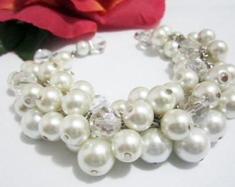 Chunky Ivory Pearl Bracelet Cluster Bracelet Bridesmaid Gift Bridal Wedding Party Jewelry Bridesmaid Bracelet Wedding Party Gift