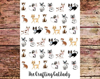 Cute Cartoon Cat Planner Stickers