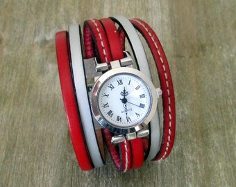 Watch cuff, leather red/silver, silver dial. 30MM magnetic silver plated clasp