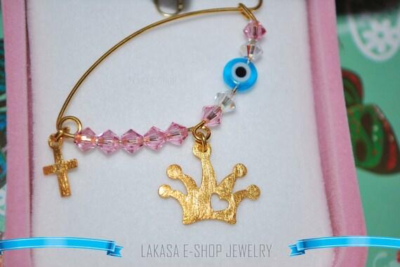 Crown Princess Baby Girl Brooch Sterling Silver Gold Swarovski Crystals Jewelry Best idea Gift Baptism Christian Cross Birthday Mother Moomy