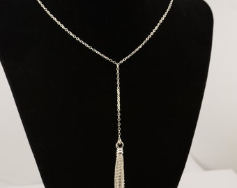 Tassel necklace. Silver tassel necklace. Tassel jewelry. Lariat Necklace. Long Necklace. Tassel long necklace
