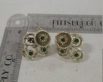 Silvertone screwback earrings