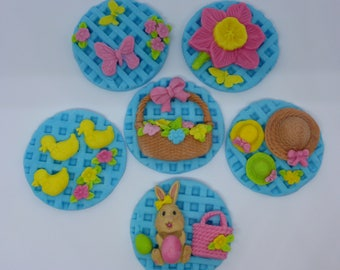 6 Edible Easter Bunny Bonnet Pastel Colours Flowers Handmade Cupcake Toppers
