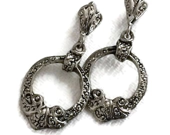 Silver Wreath Drop Earrings