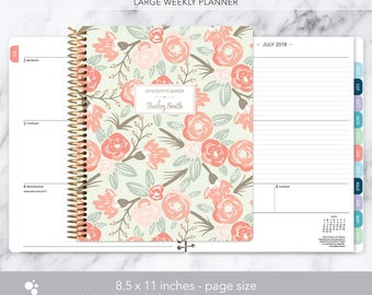 8.5x11 weekly planner 2018 2019   choose your start month   12 month calendar   LARGE WEEKLY PLANNER   sage pink gold floral