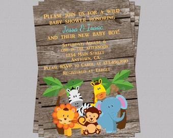 Jungle Baby Shower Invites, Zoo Animal Baby Shower, Jungle Invitations, Boy Baby Shower Invites, Rustic Baby Shower Invitations, Digital