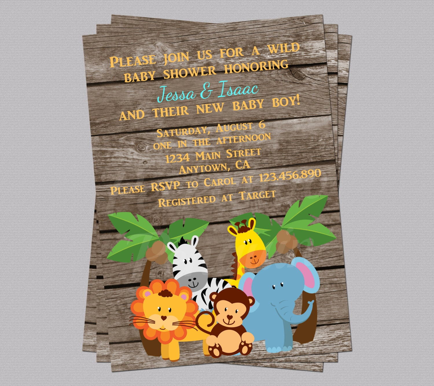 Jungle baby shower invites zoo animal baby shower jungle zoom stopboris Image collections