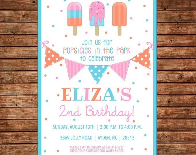 Girl Invitation Popsicles Ice Cream Truck Birthday Party - Can personalize colors /wording - Printable File or Printed Cards