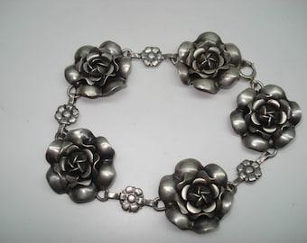 Vintage Sterling Silver Blooming Rose Link Bracelet