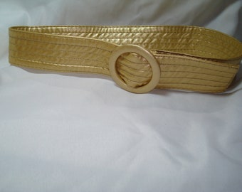 1980's Shimmering Gold Pleather Quilted Cinch Belt.