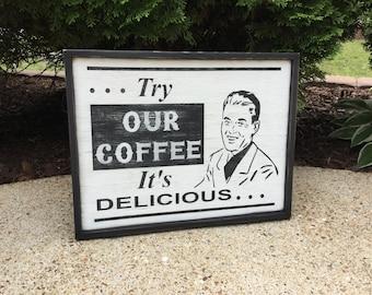 Coffee, Sign, Primitive, Rustic, Wood, Folk Art, Retro, Vintage, Style, Shelf Sitter, Wooden, Signs