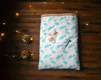 Flamingo booksleeve_blue bird hardcover booksleeve paperback_puffy booksleeve_bibliophile_bookaholic_book protector_reader gift_book cozy