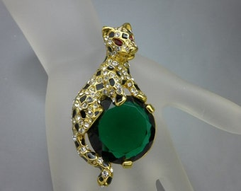 KJL Kenneth Jay Lane Duchess of Windsor Leopard Panther Cat Brooch Pin Emerald Ruby New