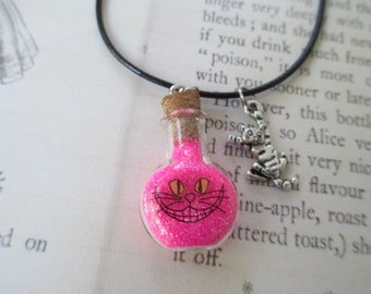 Cheshire Cat Necklace, Pink Glitter Vile Necklace, Were All Mad Here, Alice In Wonderland Necklace, Through The Looking Glass Necklace