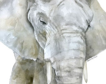 Elephant Watercolor Painting Print - 4 x 6 - Giclee Reproduction Fine Art Print - African Animal - Safari