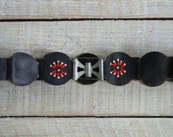 "Vintage Black Leather Beaded Belt ~ 31 1/2"" Length Distressed Accessories ~ 70's Southwest Boho Style Belt (B14)"