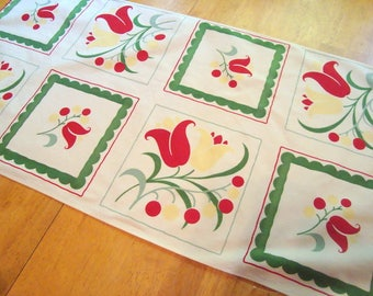 Vintage floral fabric table runner