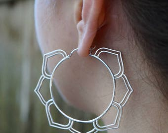 Sterling Silver Hoop Earrings - Best Hoop Earrings for Her - Mandala Hoops - Chakra