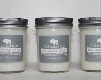 Soy Candles (3) | Mason Jar Candles | Scented Candles | White Buffalo | Farmhouse Candles | Buffalo Gifts | Buffalo Decor | Candle Gift Set