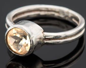 Gemstone engagement ring, Lemon quartz ring, Solitaire ring, gemstone jewelry