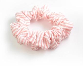 Scrunchy | Easter Gift | Striped Hair Scrunchy | Hairband | Womens Scrunchie | Pink Scrunchie | Ponytail Holder | Pink Hair Tie