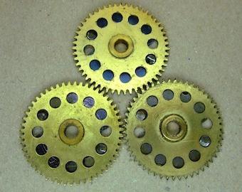 Brass Big Clock Gears - Steampunk Findings - set of 3 - G107