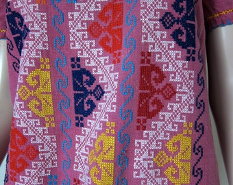 70s Vintage Embroidered Mexican Dress Boho - Raspberry Plum - Ethnic Cotton Hippie Tunic - Geometric Embroidery Purple Shift Tunic XXS  XS