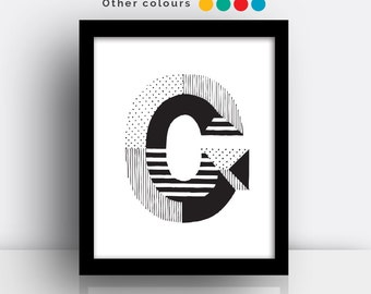 Letter G print - hand drawn typeface
