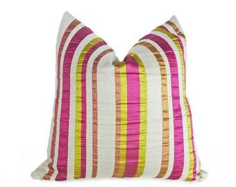 Boho Floor Cushions, Striped Pillow Cover, Pink Green Pillows, Decorative Pillows, Bohemian, Euro Shams, 12x20 Lumbar, 18x18, 20x20,