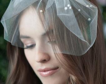 birdcage veil, bird cage veil, blusher veil, tulle bridal birdcage veil, tulle veil, small blusher veil ~ MARIE SMALL w/ Pearls Cluster Top