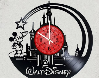"WALT DISNEY Minnie Mouse VINyL RECoRD CLoCK made from 12"" Vinyl Record best gift for kids bedroom gift for Disney fans childern gifts"