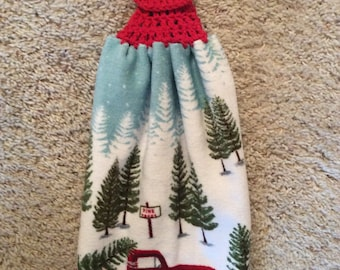 Hanging Kitchen - Red Pickup Truck - Pine Trees - Crochet Top - Towel - Double and Reversible