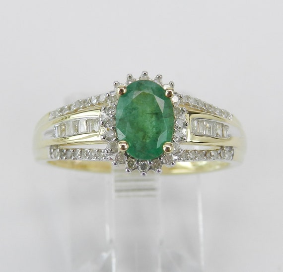 Yellow Gold Diamond and Emerald Engagement Ring May Birthstone Promise Size 7