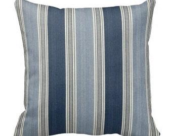decorative pillows, 12x24 accent pillows, blue striped pillow, waverly pillow, striped couch pillow, blue pillow, throw pillow, chair pillow