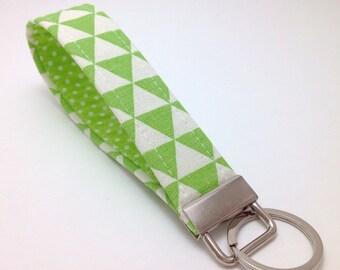 Key fob. Fabric Key fob. Fabric Key chain. Green Keychain. Wristlet Keychain. Fabric Wristlet. Key fob Keychain. Wristlet Strap.