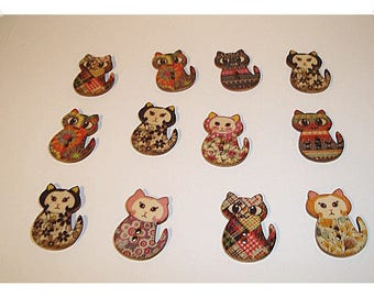 Wooden Whimsical Cat Buttons/ Set of 12- Assorted*/ Craft Supplies*