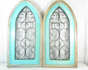 Shabby cottage decor,  shabby decor, wall decor, wall hangings, wood, metal, cathedral, rustic decor, boho