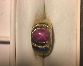 14K Gold Man's Ruby Star Sapphire Ring with Diamond Accents