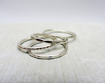 Sterling Silver Stacking Rings, set of 4 skinny rings,  size 6.5