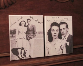 ACTUAL HANDWRITING on Wall Canvas - Signatures - Grandparents - Old family picture with signatures, gift for parents, family tree