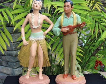 On Sale!! Vintage HAWAIIAN HULA Art Deco Statues LIDNER 1941