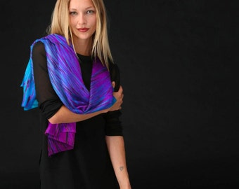 Cashmere Silk Scarf - Purple Abstract Floral by VIDA VIDA kLPm6NFO