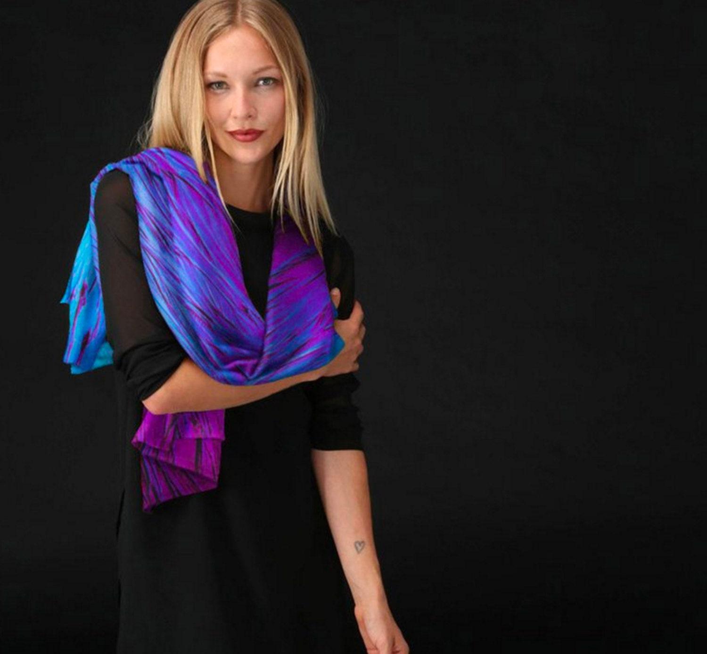Silk Square Scarf - BLUE ABSTRACT by VIDA VIDA jlN8fnv
