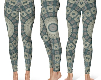 Tribal Leggings Yoga Pants, Big Print Yoga Tights for Women, Festival Clothing, Burning Man