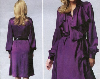 FREE US SHIP Vogue 1358 Dress Anne Klein Ruffles Skirt Size 16/24 Size 16 18 20 22 24 Bust 38 40 42 44 46 Sewing Pattern (Last size left)