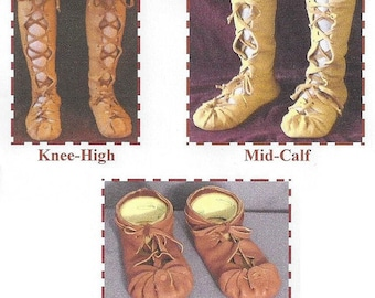 Adult's Ghillie Moccasin in Low Top, Knee High and Mid-Calf Styles - SparrowHawk Sewing Pattern #Y011 Celtic, Roman, Breton, Biblical, SCA