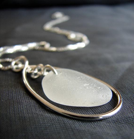 Sea Keeper sea glass necklace in pure white