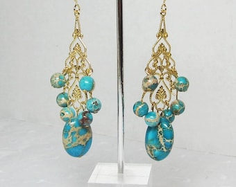 Turquoise Swirled with Tans and Browns Gold Filigree Chandelier Earrings